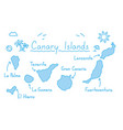 canary islands map hand drawing doodle outline vector image vector image
