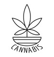 cannabis plant logo outline style vector image vector image
