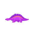 cartoon purple stegosaurus dinosaur of jurassic vector image