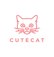 cat head line art logo vector image