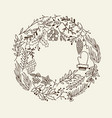 christmas round frame decorative elements doodle vector image vector image