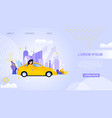 city taxi transport landing page carpool service vector image vector image