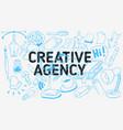 creative agency artistic cartoon hand drawn vector image