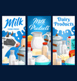 dairy food and milk farm products banners vector image