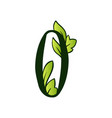 doodling eco alphabet letter otype with leaves vector image