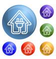 eco house plug icons set vector image vector image