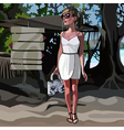 Fashionable girl standing near pointers in the vector image vector image