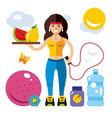 fitness girl flat style colorful cartoon vector image vector image