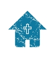 Grunge christian house icon vector image vector image