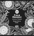 hand drawn sunflower design template farm plants vector image vector image