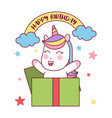 happy birthday happy unicorn gift vector image vector image