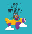 happy holidays bear flying in sky vector image vector image