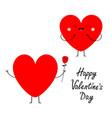 happy valentines day red heart couple in love vector image vector image