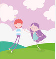 happy valentines day young man and cute cupid in vector image vector image