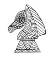 horse chess piece with many decorative patterns vector image