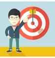 Japanese salesman hit the sales target vector image