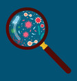 magnifying glass with virus and bacteria vector image