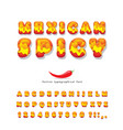 mexican spicy cartoon font hot chili pepper burn vector image vector image
