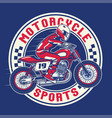 motorcycle racing badge design vector image vector image