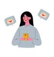 online dating brunette girl using mobile vector image vector image