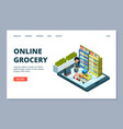 online grocery landing page isometric vector image