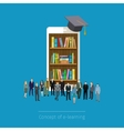 Online mobile library in smartphone vector image vector image