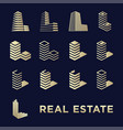 real estate logotype set or abstract buildings vector image vector image