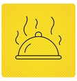 Restaurant cloche icon Hot food sign vector image vector image