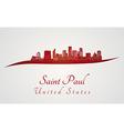 Saint Paul skyline in red vector image