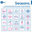 seasons items color linear icons set vector image vector image