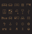 set furniture outline icon vector image