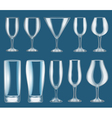 set of glass wine glasses vector image vector image