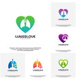 set of lungs love logo designs lungs care vector image vector image