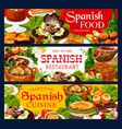spanish cuisine food banners meat and fish vector image vector image