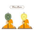 thai monks holding talipot fan collections vector image vector image