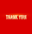 thank you gold sign with light bulbs and shining vector image vector image