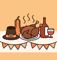 thanksgiving day dinner tradition in table vector image vector image