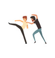 two aggressive men fighting on vector image vector image