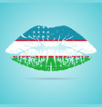 uzbekistan flag lipstick on the lips isolated on a vector image vector image