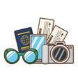 vacations smartphone camera passport tickets vector image vector image