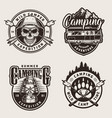 vintage monochrome outdoor recreation labels vector image vector image