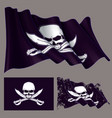 waving pirate flag jawless skull and swords vector image vector image