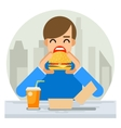 Happy Man Eating Hamburger Sandwich Icon Fast Food vector image