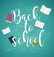 Back to school with books and formulas on the vector image