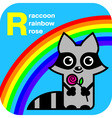 ABC raccoon rainbow rose vector image vector image