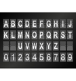 Alphabet in airport arrival and departure display vector image