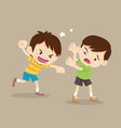 angry boy hitting him friend vector image vector image
