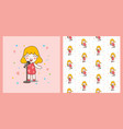 blonde cute girl sing with red dress and pattern vector image