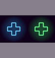 blue and green neon medical cross vector image vector image