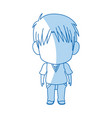 blurred thin silhouette of anime little boy vector image vector image